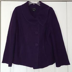 Sandro boiled wool cowl neck coat, size medium